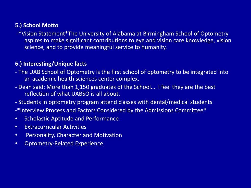 5.) School Motto