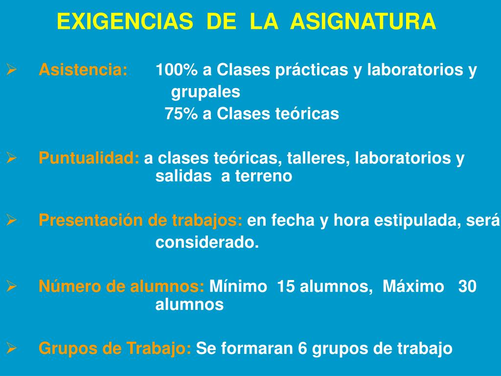 EXIGENCIAS  DE  LA  ASIGNATURA