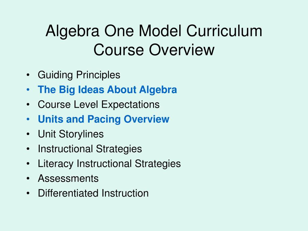 Algebra One Model Curriculum