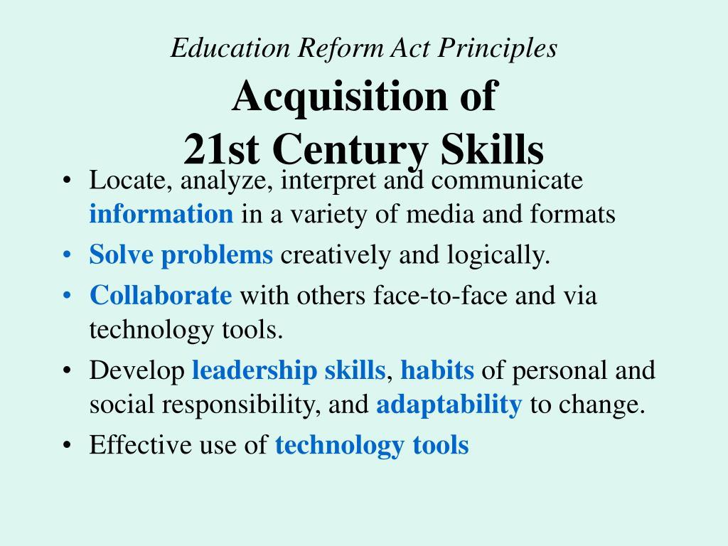 Education Reform Act Principles