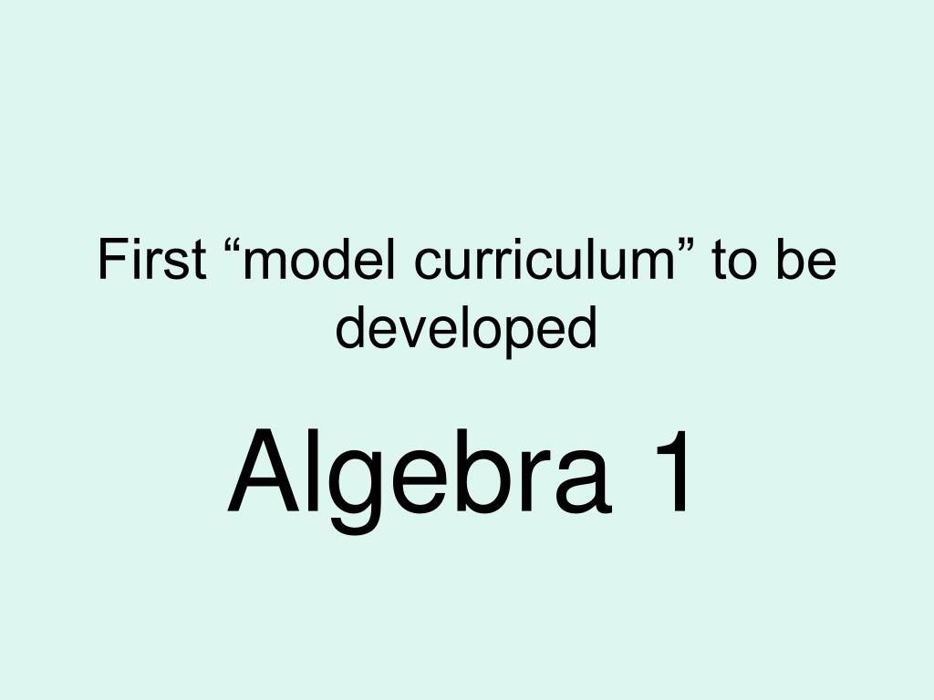 """First """"model curriculum"""" to be developed"""
