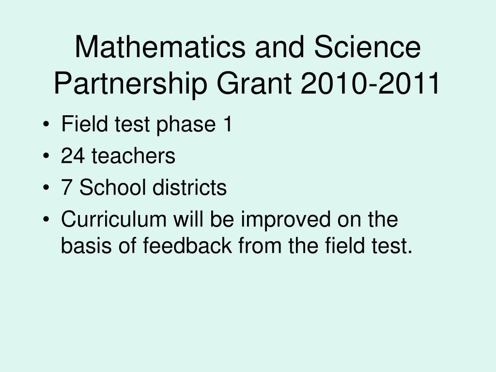 Mathematics and Science Partnership Grant 2010-2011