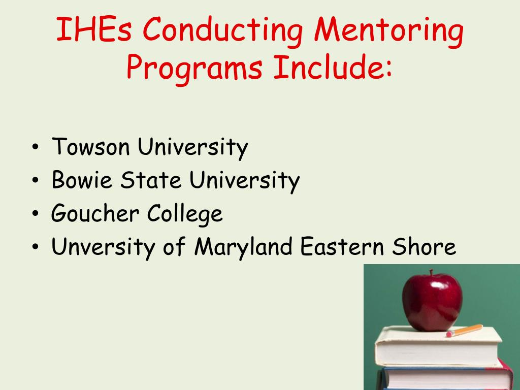 IHEs Conducting Mentoring Programs Include: