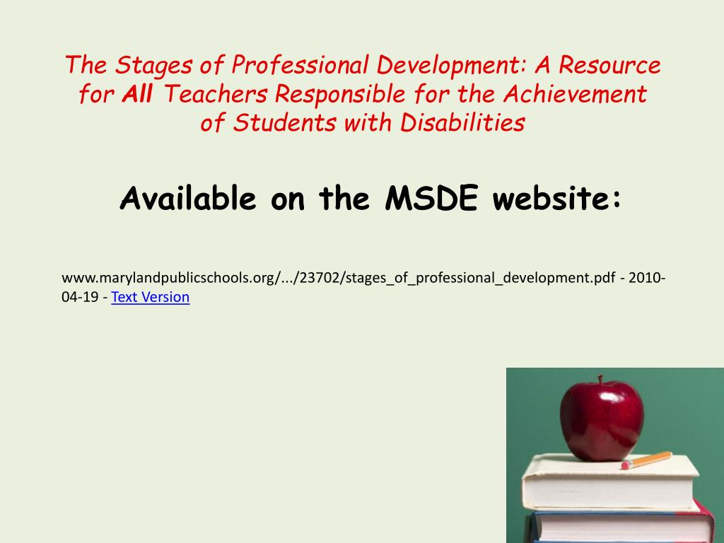 The Stages of Professional Development: A Resource for