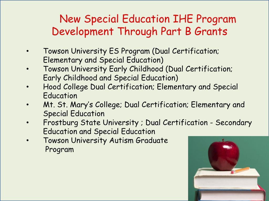 New Special Education IHE Program Development Through Part B Grants