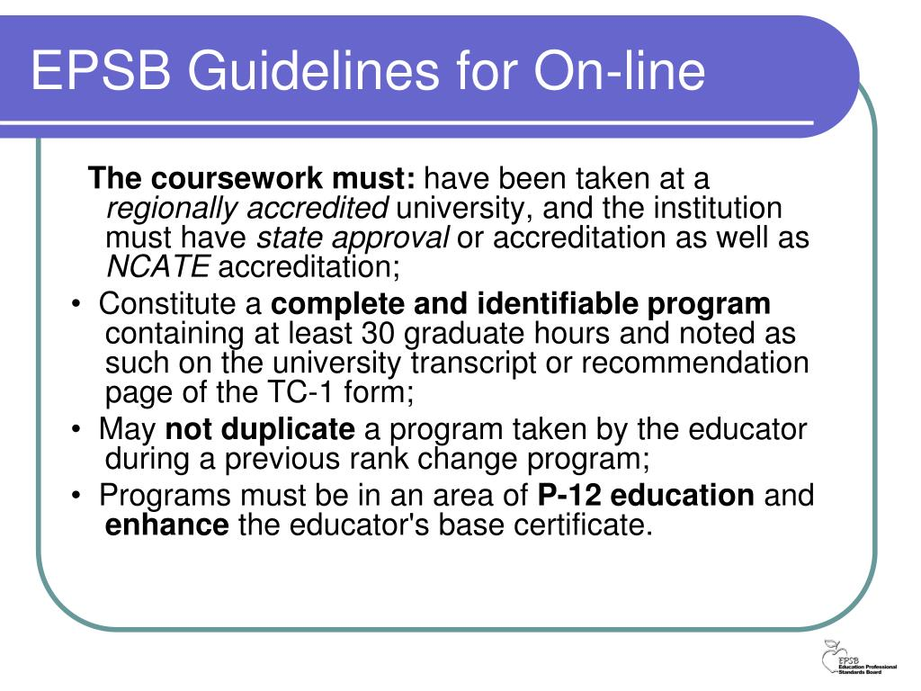 EPSB Guidelines for On-line