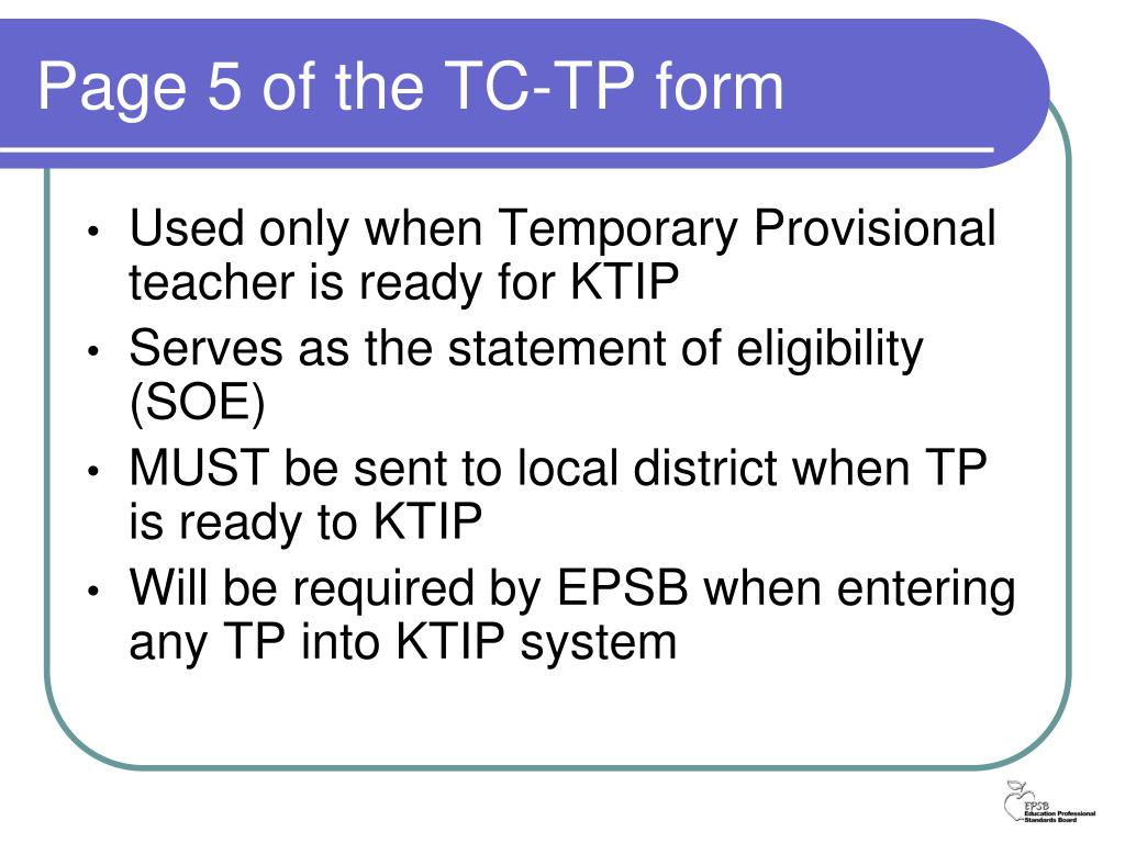 Page 5 of the TC-TP form