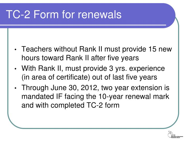 Tc 2 form for renewals