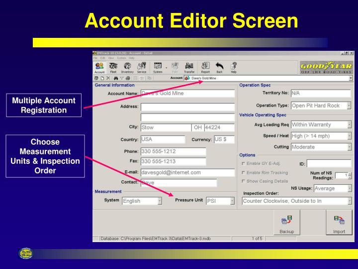 Account Editor Screen