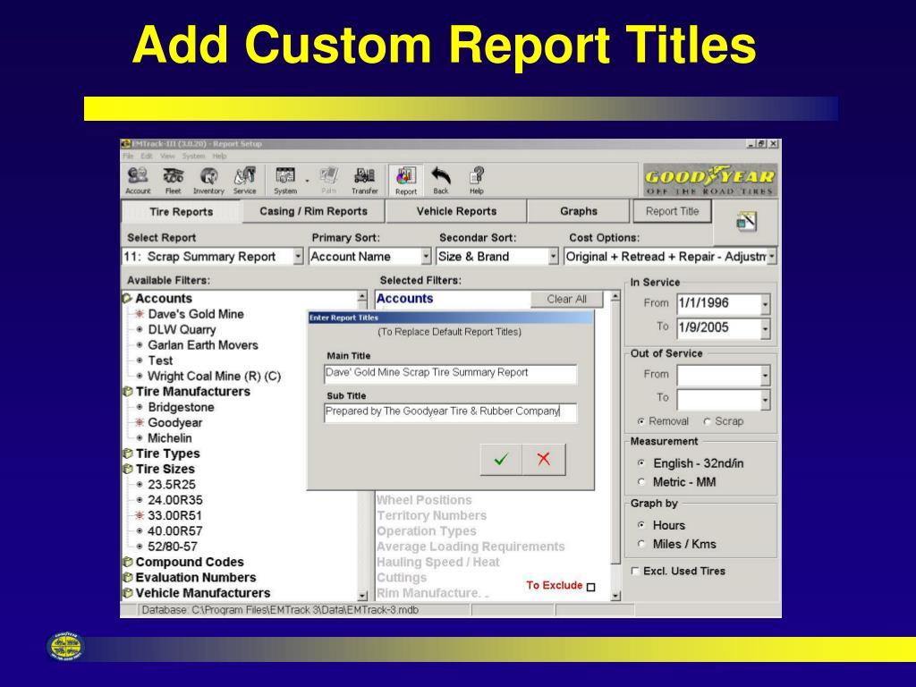 Add Custom Report Titles