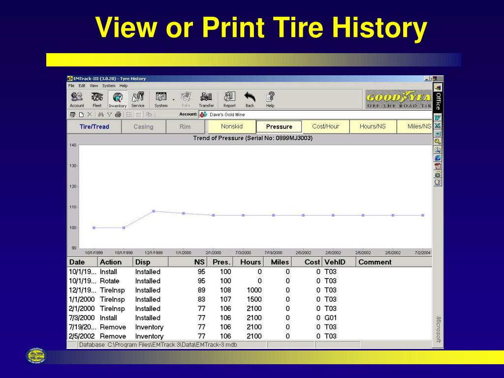 View or Print Tire History