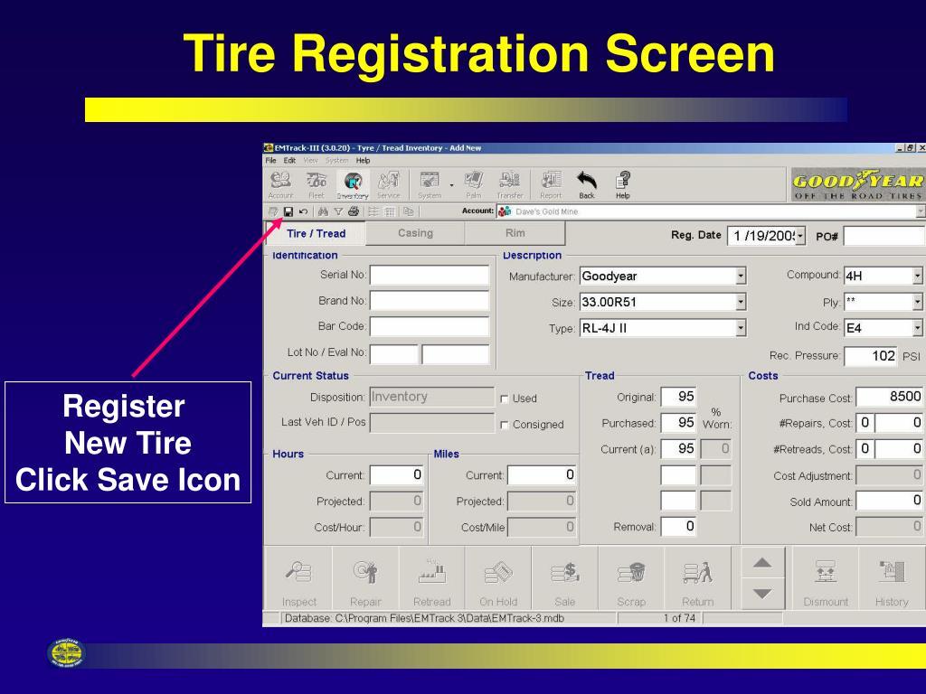 Tire Registration Screen