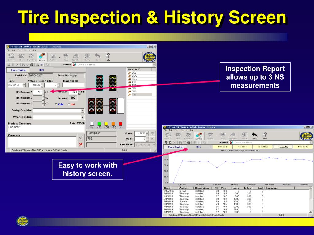 Tire Inspection & History Screen