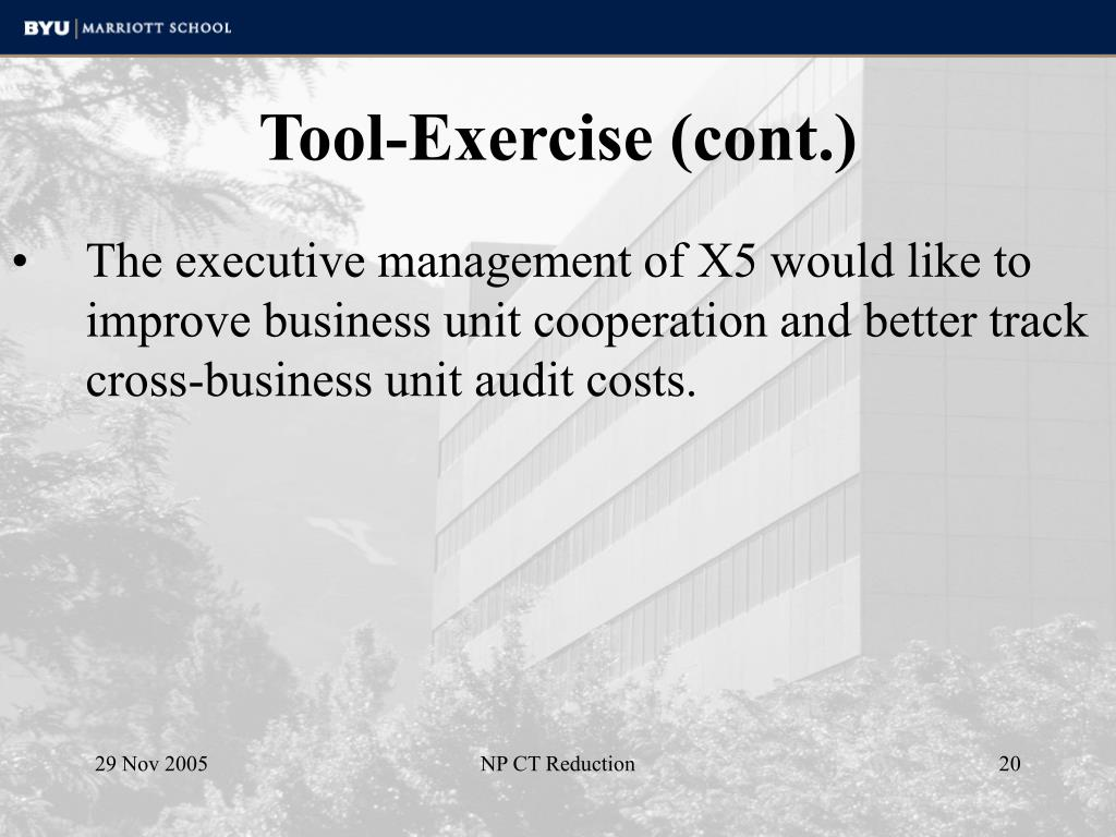 The executive management of X5 would like to improve business unit cooperation and better track cross-business unit audit costs.