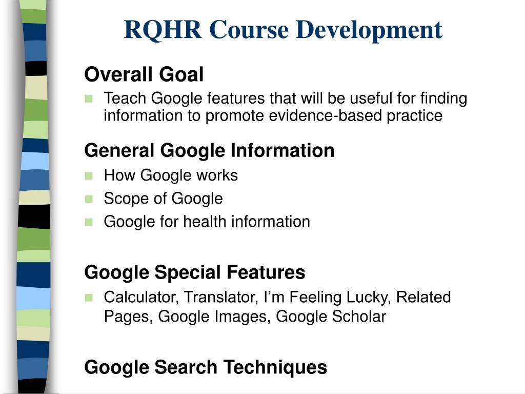 RQHR Course Development