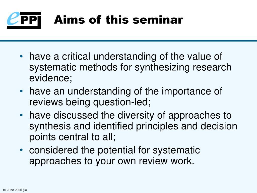 Aims of this seminar