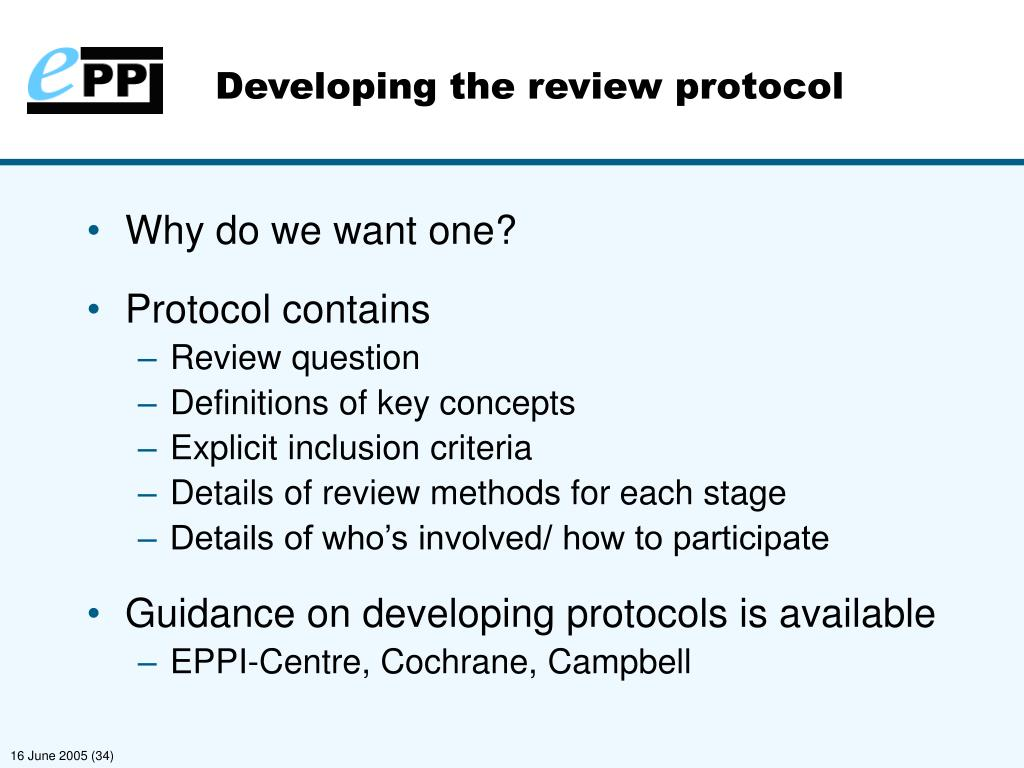 Developing the review protocol