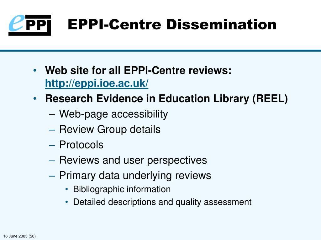 EPPI-Centre Dissemination