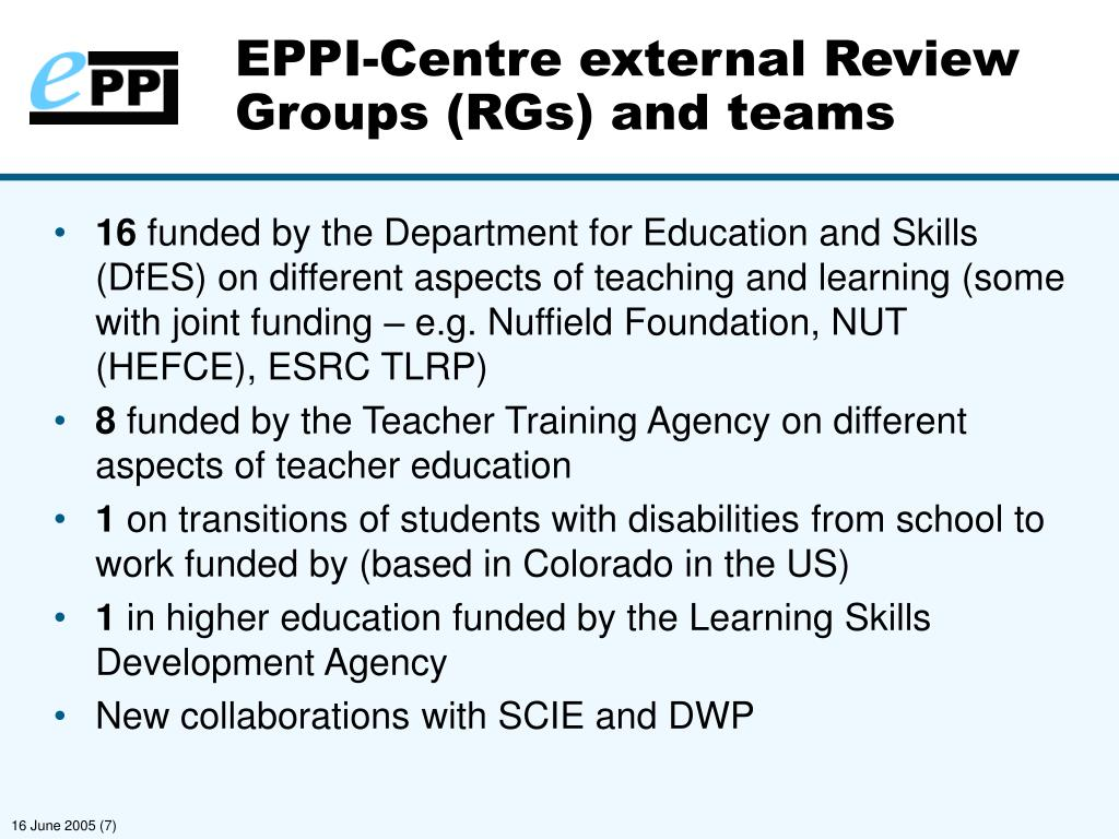 EPPI-Centre external Review Groups (RGs) and teams