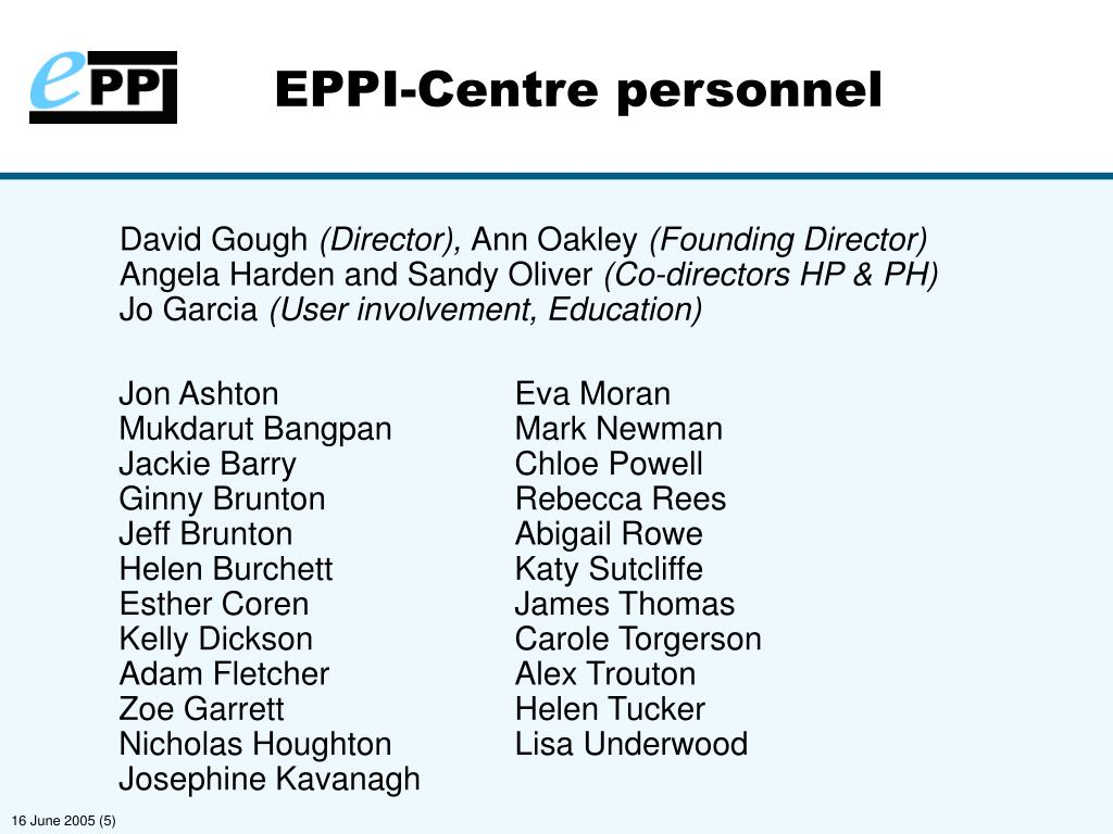 EPPI-Centre personnel