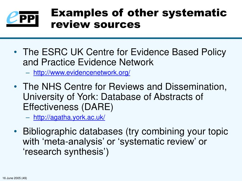 Examples of other systematic review sources