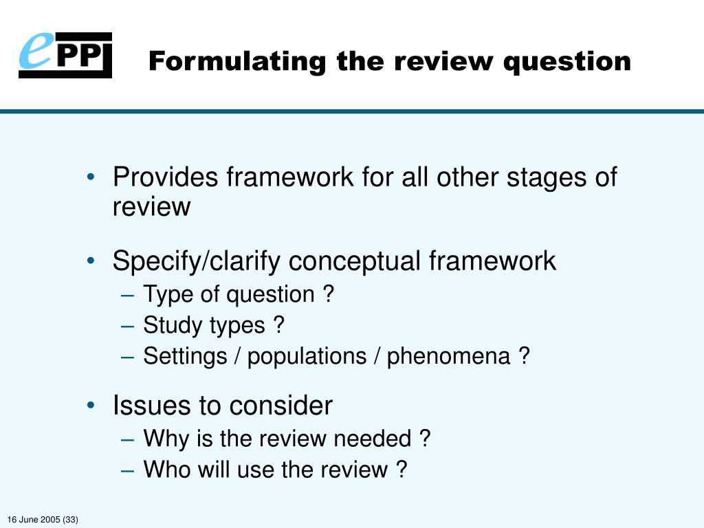 Formulating the review question