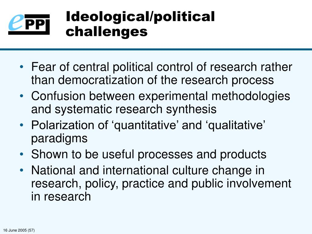 Ideological/political challenges