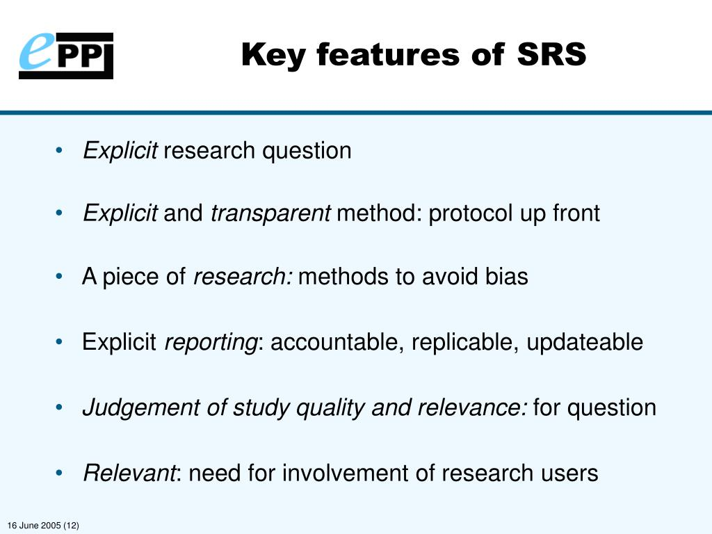Key features of SRS