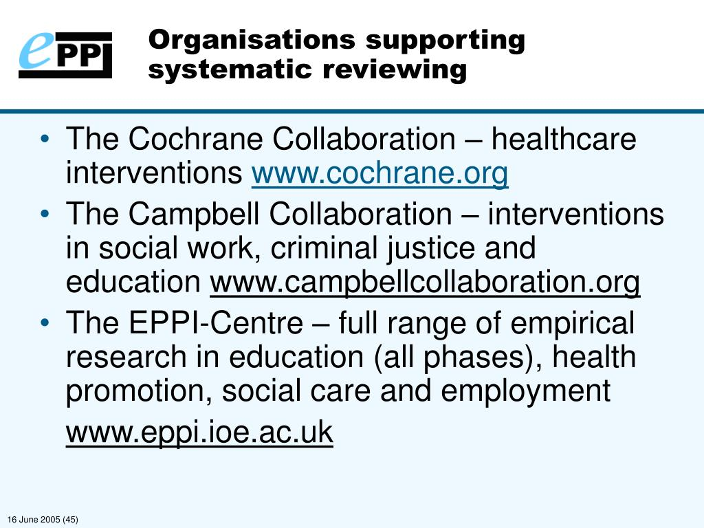 Organisations supporting systematic reviewing