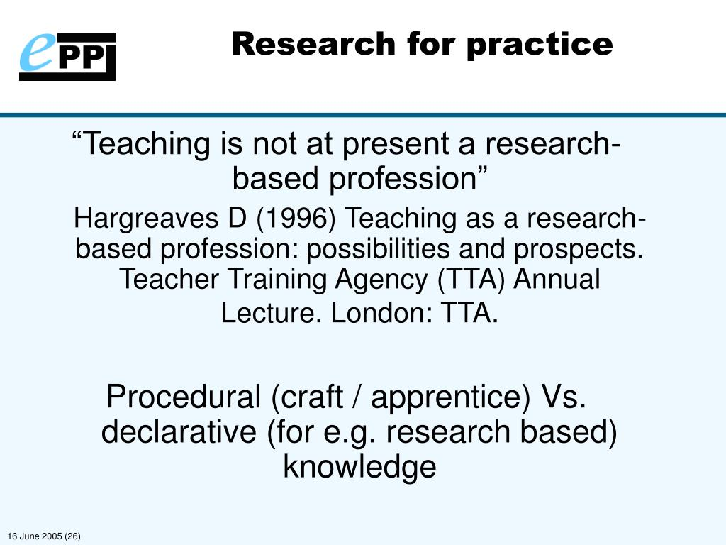 Research for practice