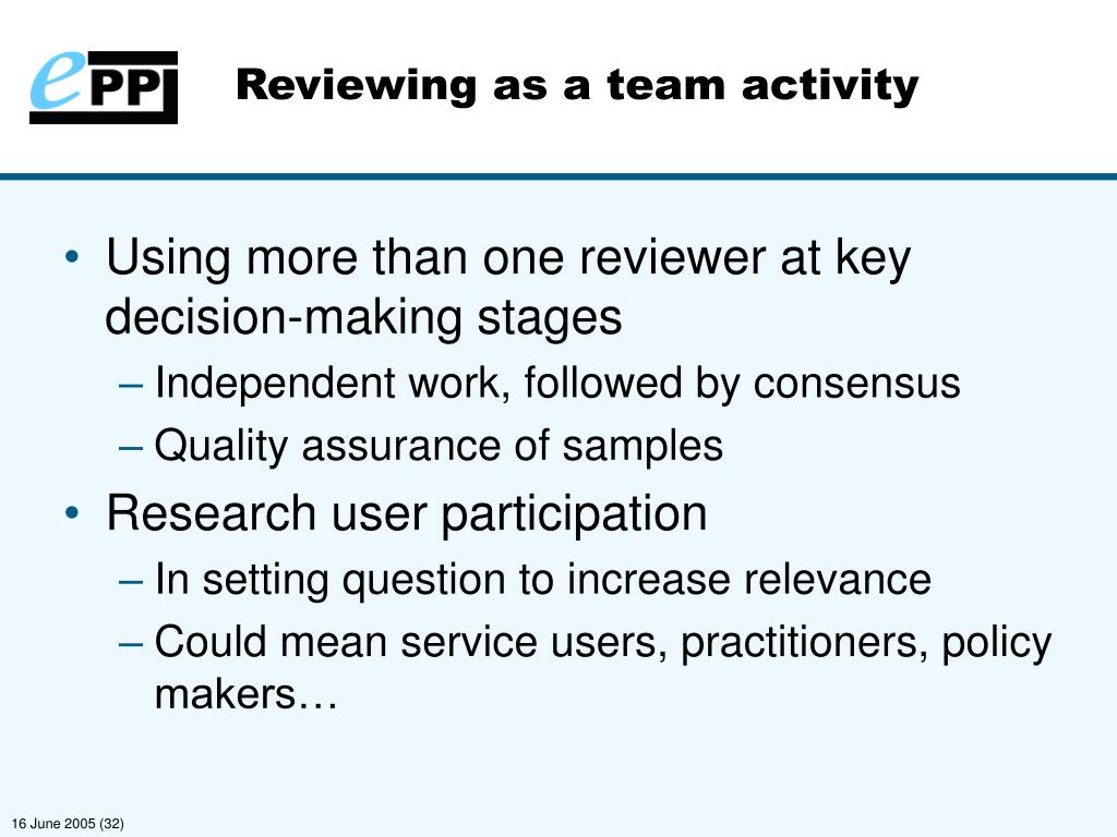 Reviewing as a team activity
