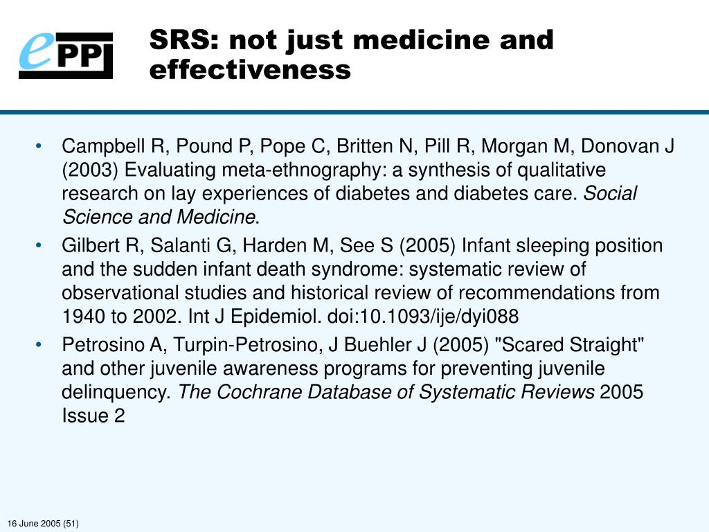 SRS: not just medicine and effectiveness