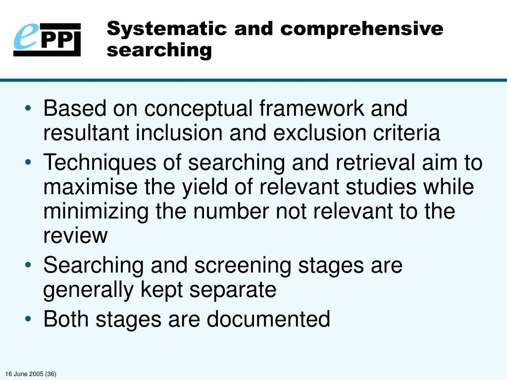 Systematic and comprehensive searching