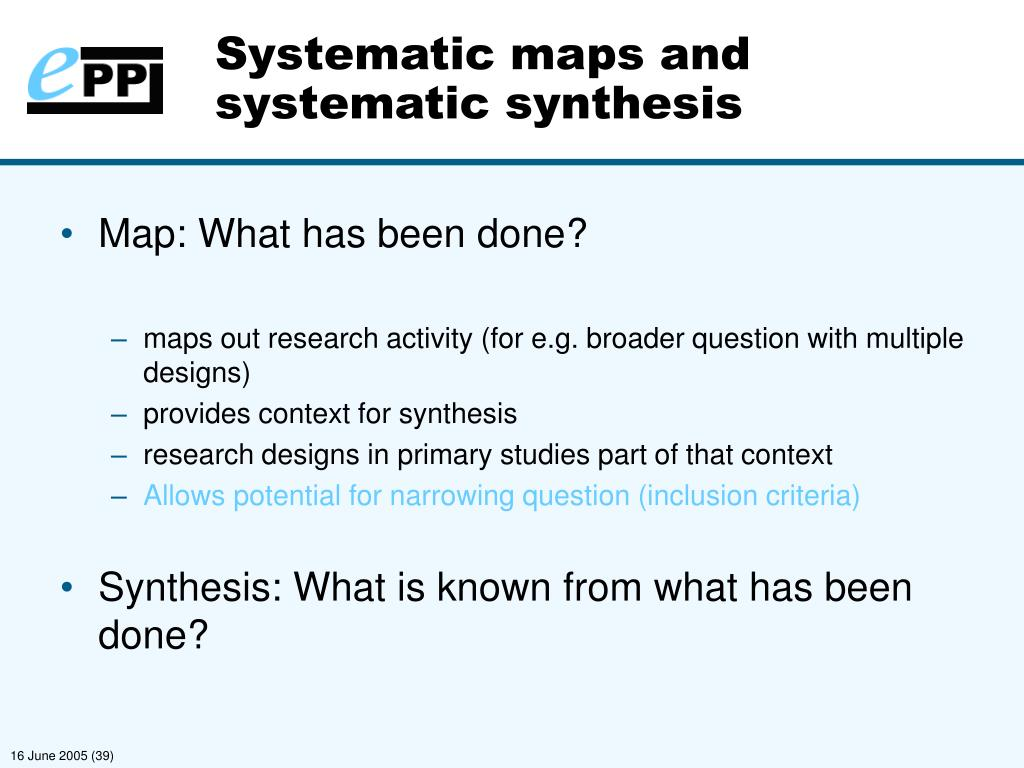 Systematic maps and systematic synthesis