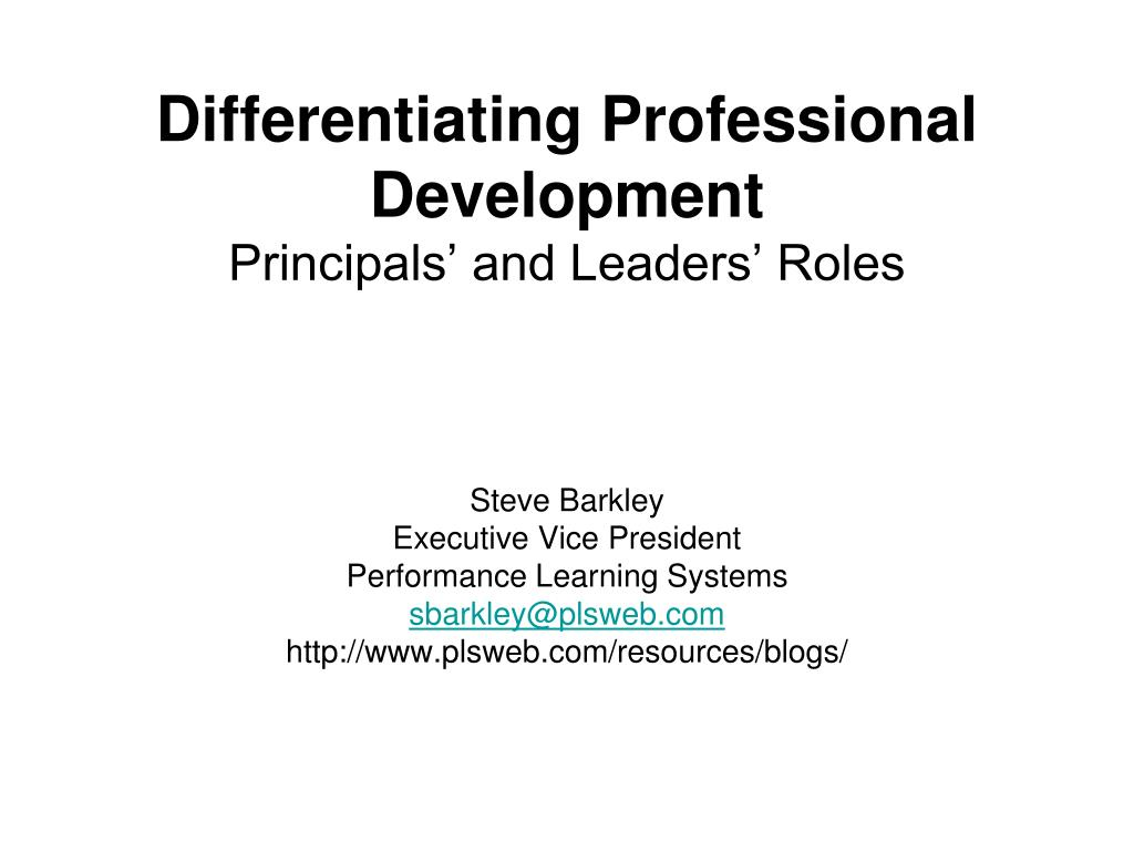 Differentiating Professional Development
