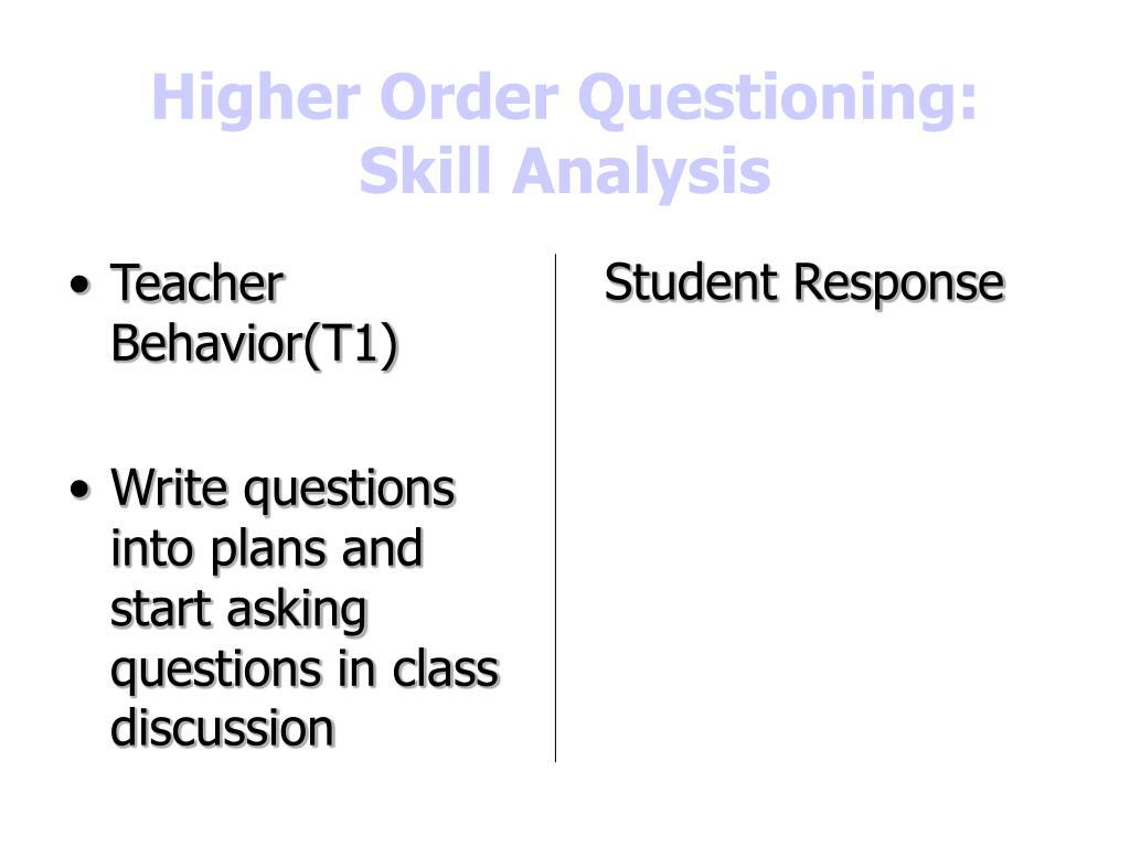 Higher Order Questioning: