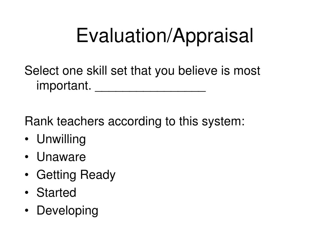 Evaluation/Appraisal