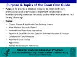 purpose topics of the team care guide