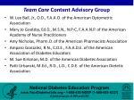 team care content advisory group