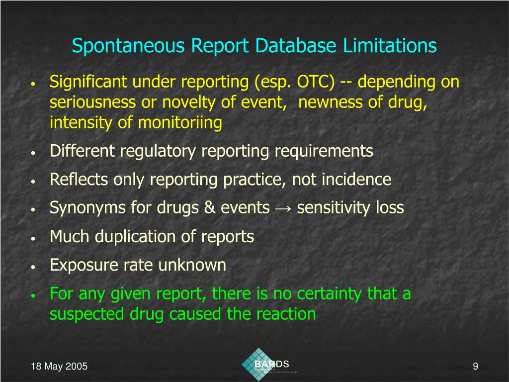 Spontaneous Report Database Limitations