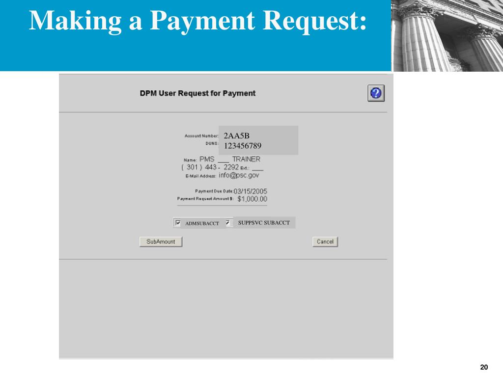 Making a Payment Request: