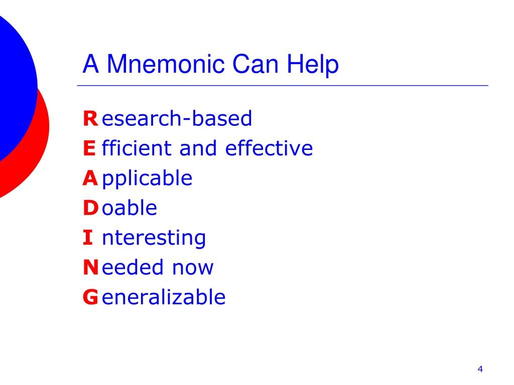 A Mnemonic Can Help
