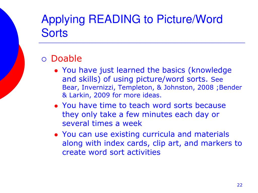 Applying READING to Picture/Word Sorts