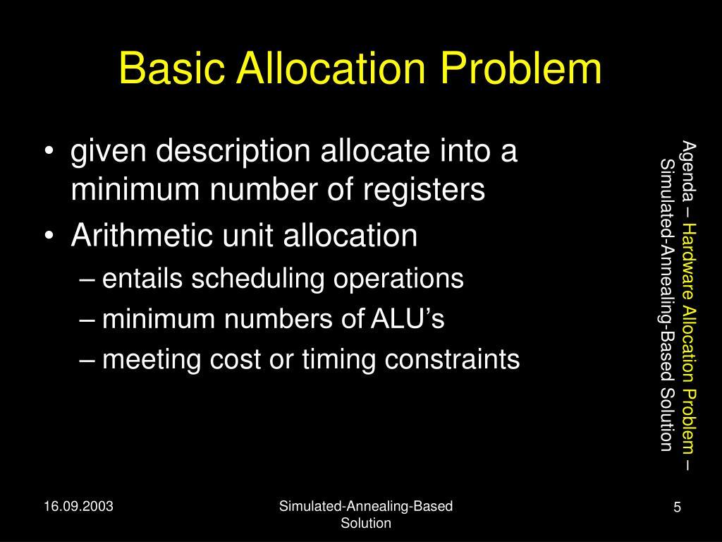 Basic Allocation Problem