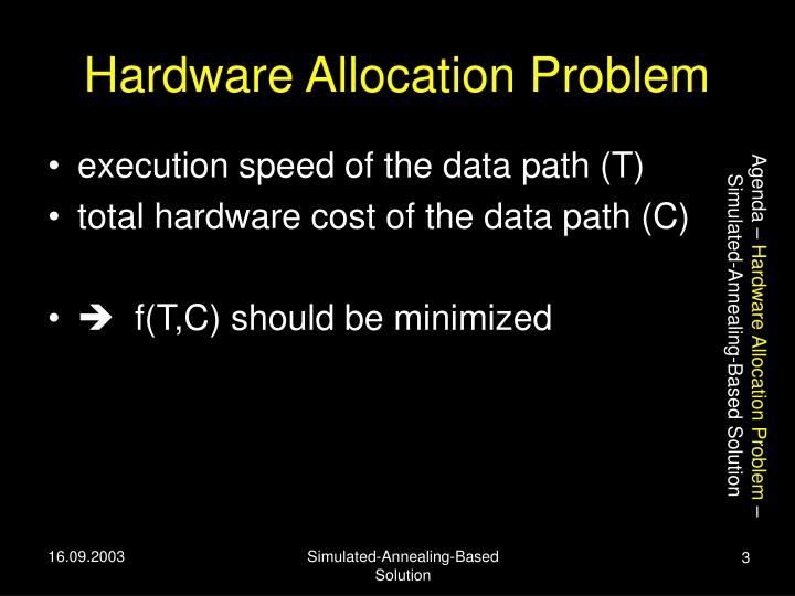 Hardware allocation problem