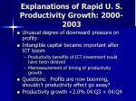 explanations of rapid u s productivity growth 2000 2003
