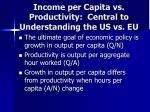 income per capita vs productivity central to understanding the us vs eu