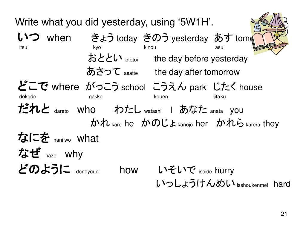 Write what you did yesterday, using '5W1H'.