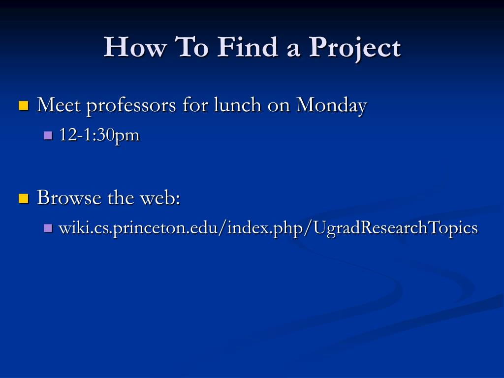 How To Find a Project