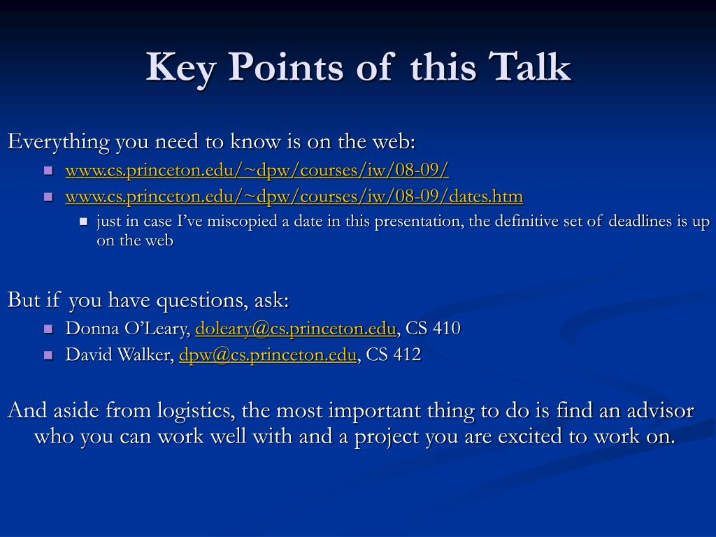 Key Points of this Talk
